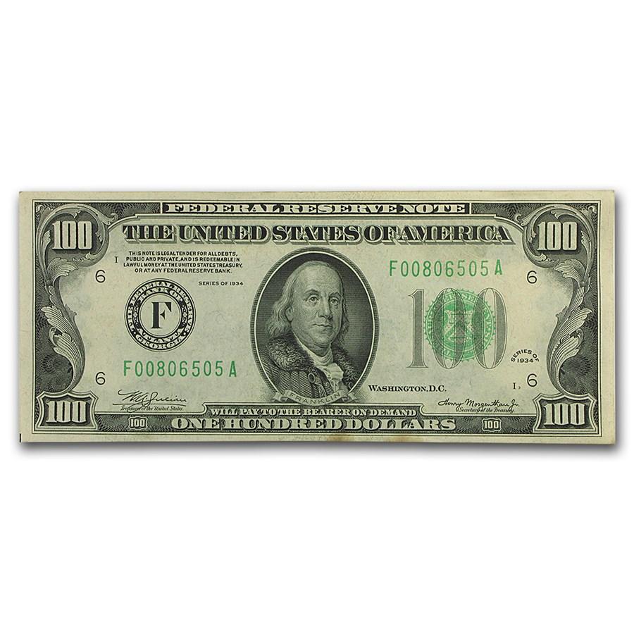 1934 (F-Atlanta) $100 FRN XF+ (Dark Green Seal)