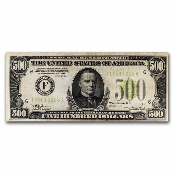 1934 (F-Atlanta) $500 FRN VF (Fr#2201-F) LGS