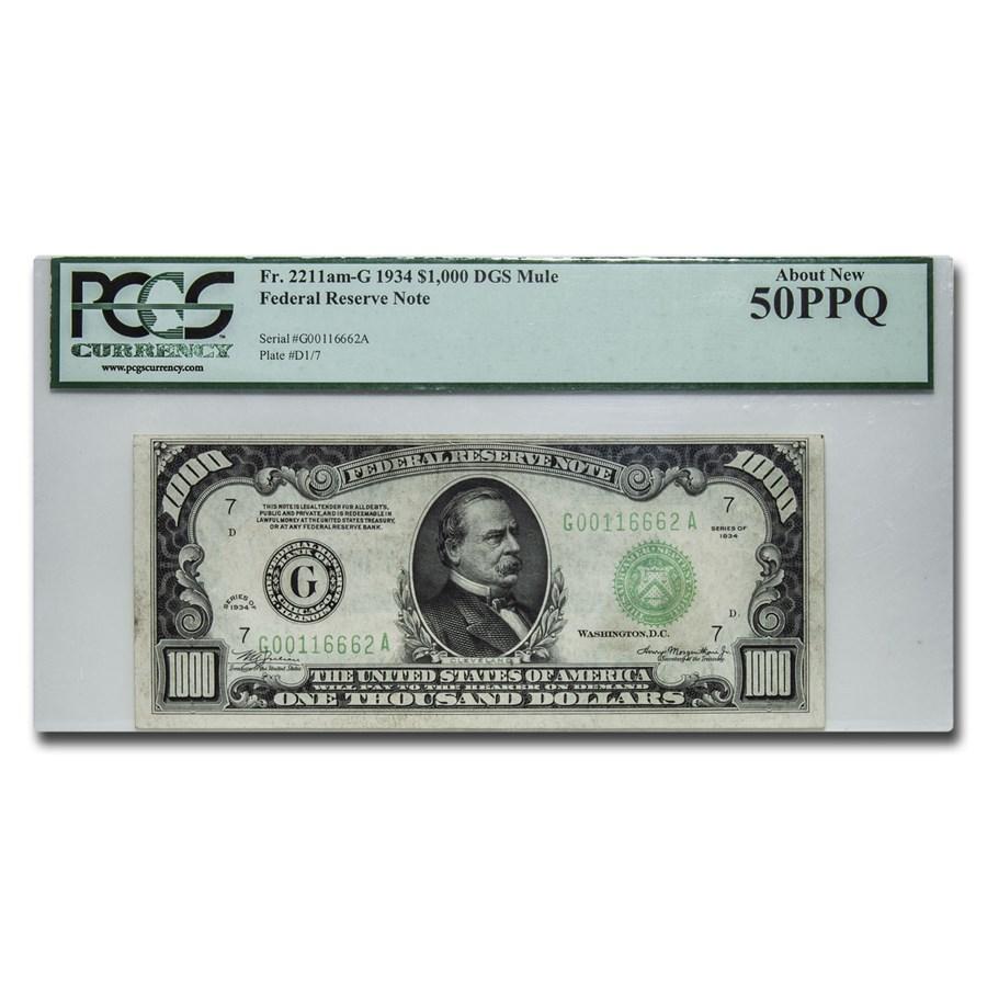 1934 (G-Chicago) $1,000 FRN AU-50 PPQ PCGS
