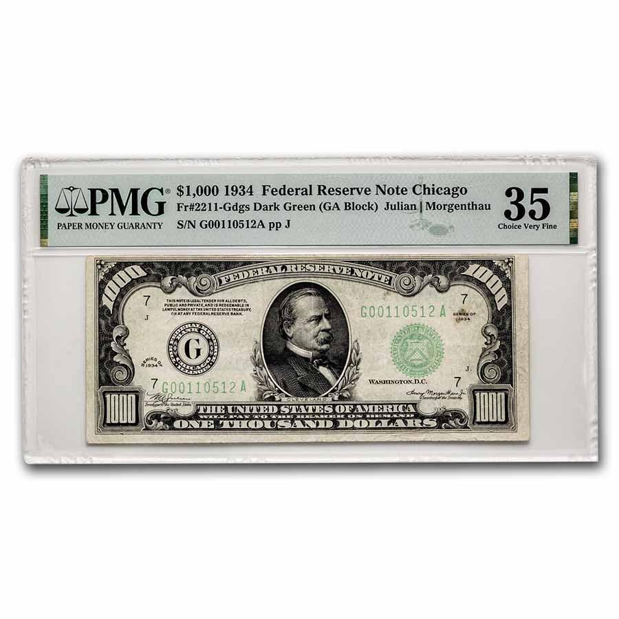 1934 (G-Chicago) $1,000 FRN CH VF-35 PMG (Fr#2211-G)