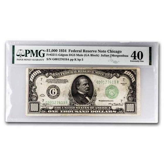 1934 (G-Chicago) $1,000 FRN Ch XF-40 PMG (Fr#2211-Gm) Mule