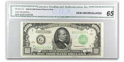 1934 (G-Chicago) $1,000 FRN CU-65 CGA