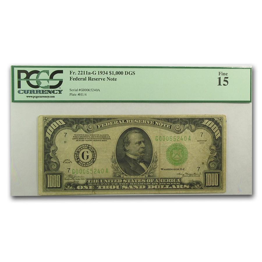 1934 (G-Chicago) $1,000 FRN Fine-15 PCGS