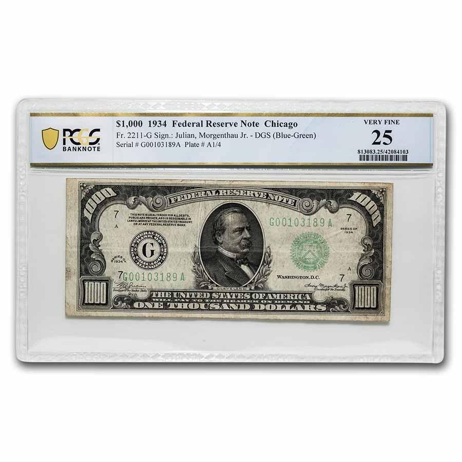 1934 (G-Chicago) $1,000 FRN VF-25 PCGS (Fr#2211-G)