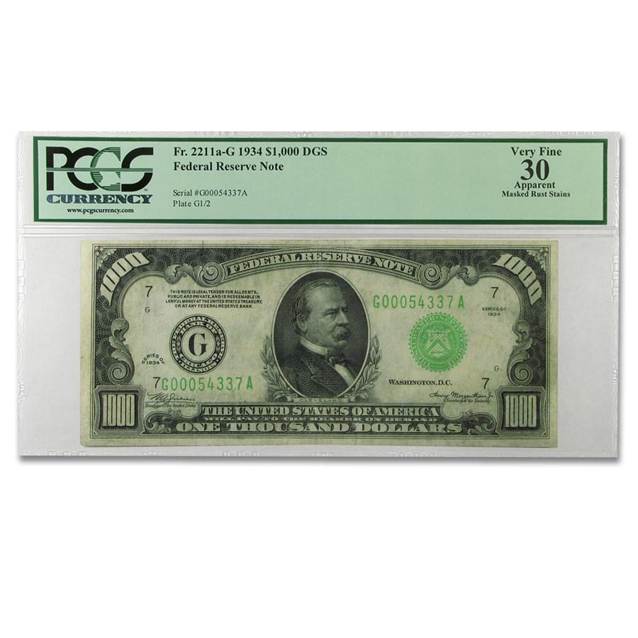 1934 (G-Chicago) $1,000 FRN VF-30 Apparent PCGS