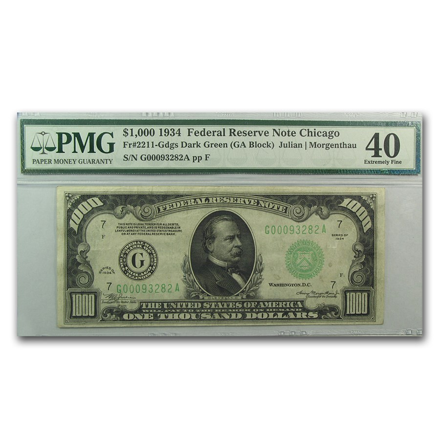 1934 (G-Chicago) $1,000 FRN XF-40 PMG