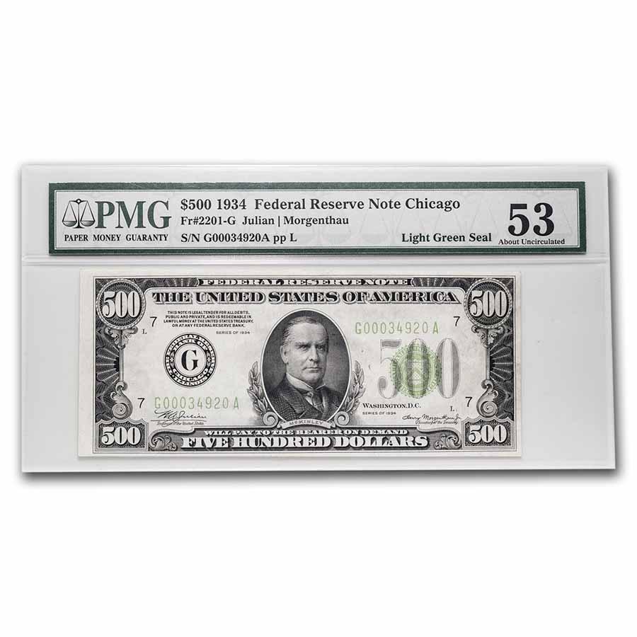 1934 (G-Chicago) $500 FRN AU-53 PMG (Fr#2201-G) LGS