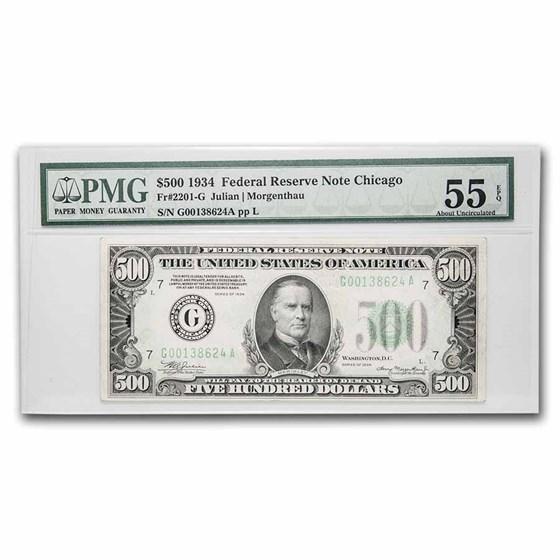 1934 (G-Chicago) $500 FRN Ch AU-55 EPQ PMG (Fr#2201-G)