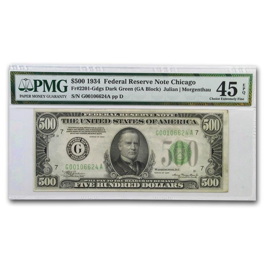 1934 (G-Chicago) $500 FRN Ch XF-45 EPQ PMG