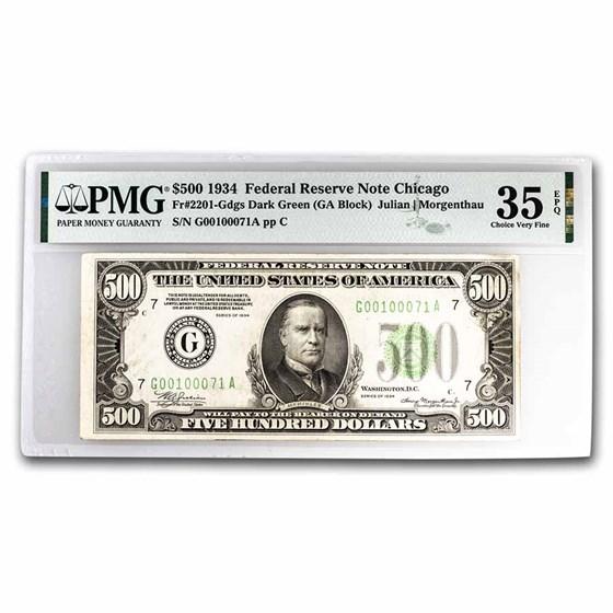 1934 (G-Chicago) $500 FRN VF-35 PMG (Fr#2201-G)