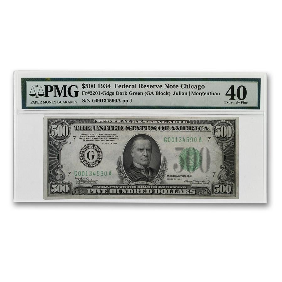 1934 (G-Chicago) $500 FRN XF-40 PMG