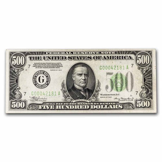 1934 (G-Chicago) $500 FRN XF (Fr#2201-G)