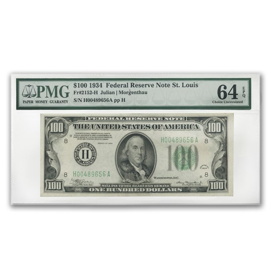 1934 (H-St. Louis) $100 FRN Ch Unc-64 EPQ PMG