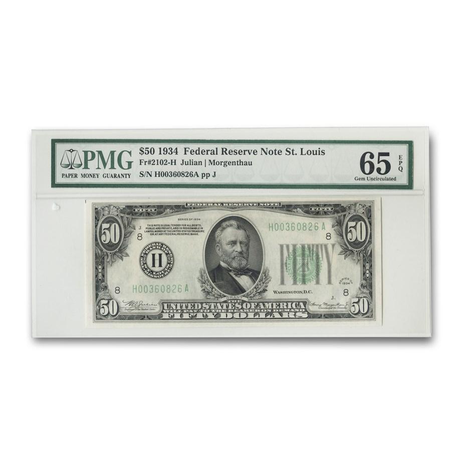 1934 (H-St. Louis) $50 FRN CU-65 EPQ PMG