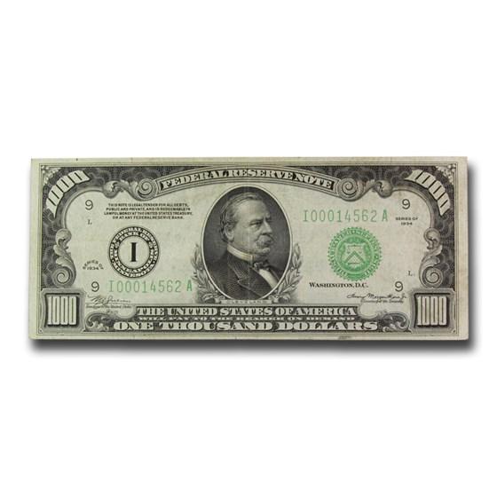 1934 (I-Minneapolis) $1,000 FRN XF (Fr#2211-I)