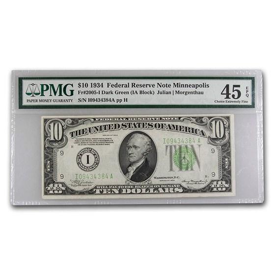 1934 (I-Minneapolis) $10 FRN XF-45 EPQ PMG (Fr#2005-I)