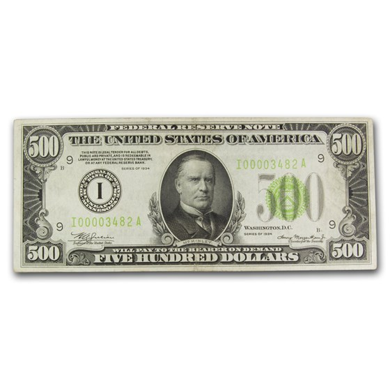 1934 (I-Minneapolis) $500 FRN AU (Fr#2201-I) LGS