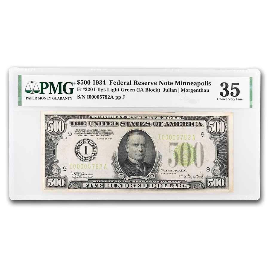 1934 (I-Minneapolis) $500 FRN Ch VF-35 PMG (Fr#2201-I) LGS
