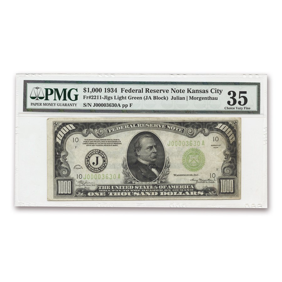 1934 (J-Kansas City) $1,000 FRN Choice VF-35 PMG (Fr#2211-J) LGS