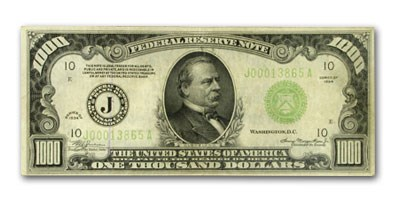 1934 (J-Kansas City) $1,000 FRN Fine Details