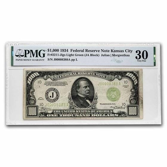 1934 (J-Kansas City) $1,000 FRN VF-30 PMG (Fr#2211-J) LGS