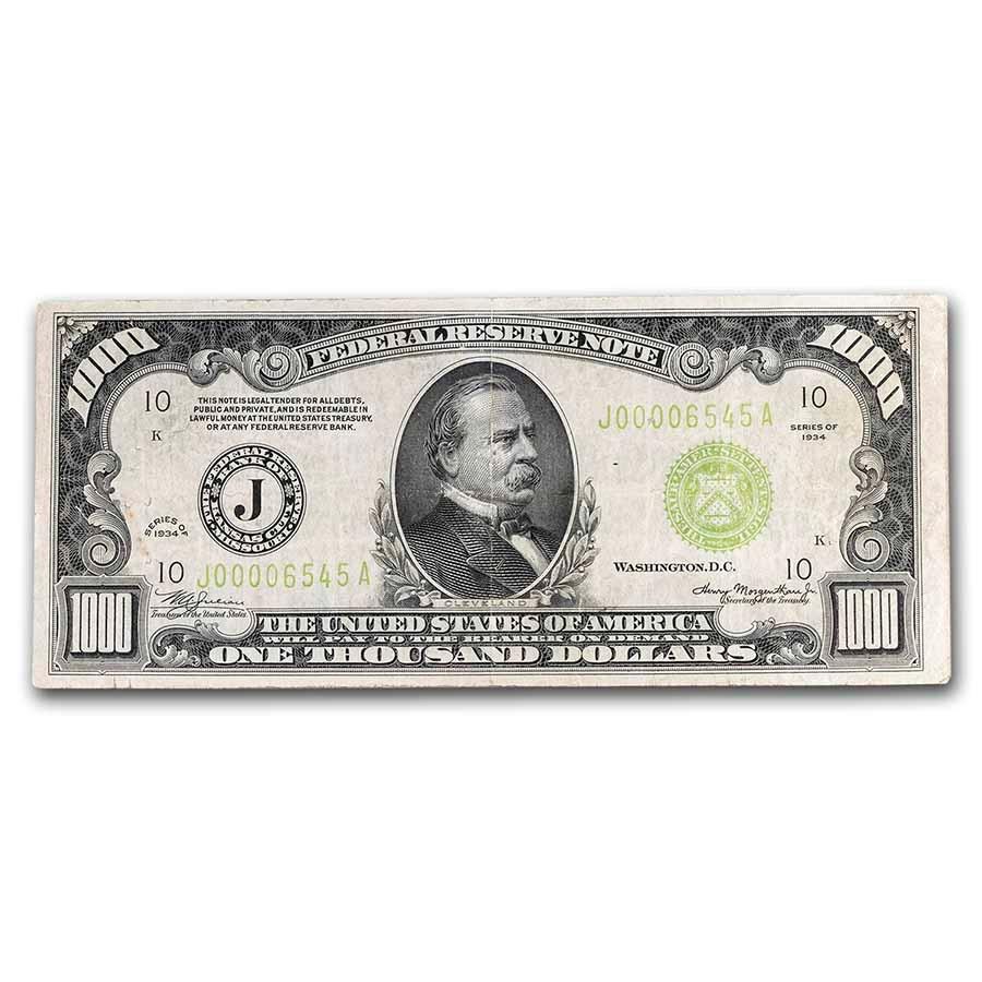 1934 (J-Kansas City) $1,000 FRN VF (Fr#2211-J) LGS