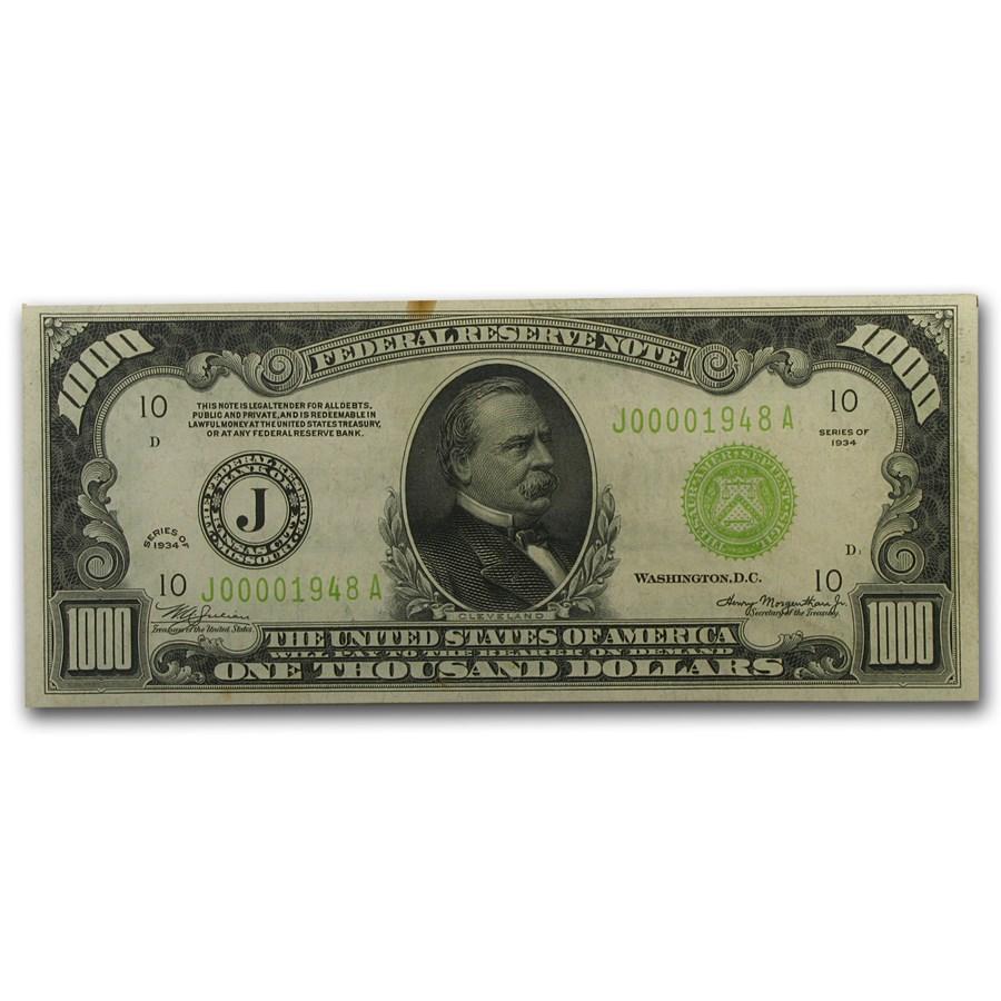 1934 (J-Kansas City) $1,000 FRN XF (Light Green Seal)