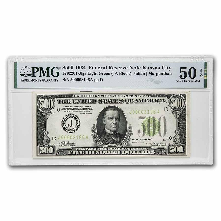 1934 (J-Kansas City) $500 FRN AU-50 EPQ PMG (Fr#2201-J) LGS