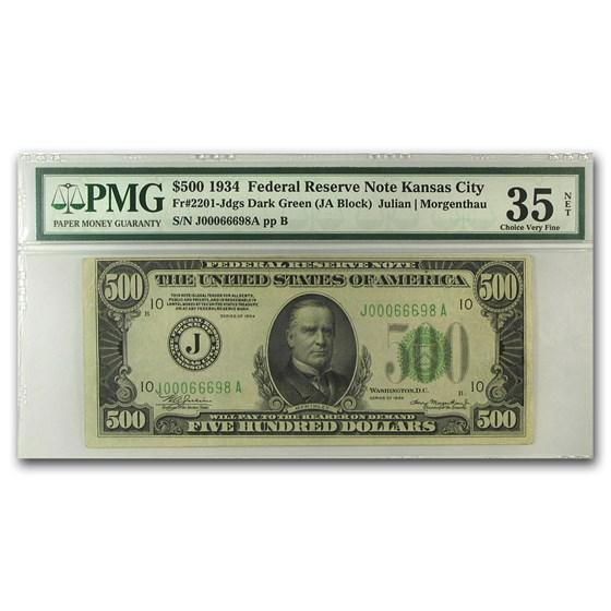 1934 (J-Kansas City) $500 FRN Choice VF-35 Net PMG
