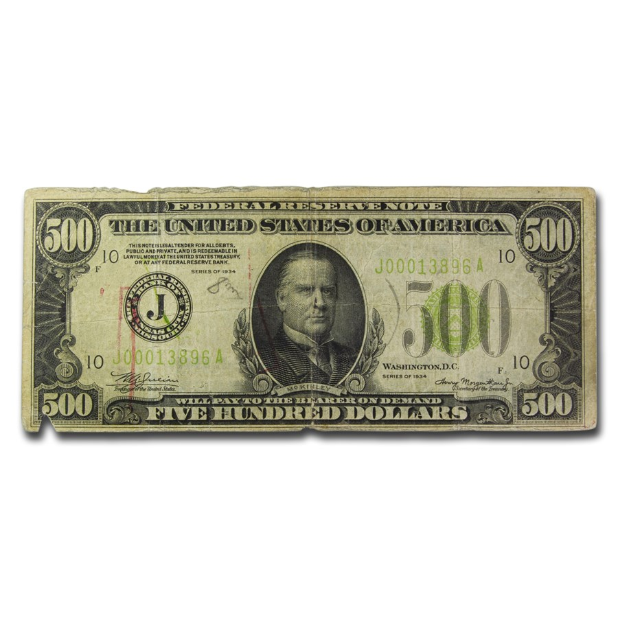 1934 (J-Kansas City) $500 FRN Fine (Details, Light Green Seal)