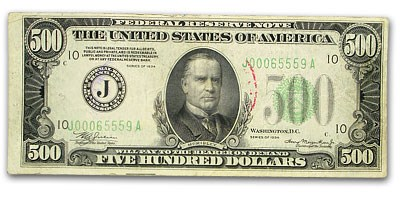 1934 (J-Kansas City) $500 FRN Fine/VF