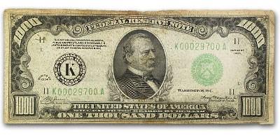 1934 (K-Dallas) $1,000 FRN Fine Details (Mule)