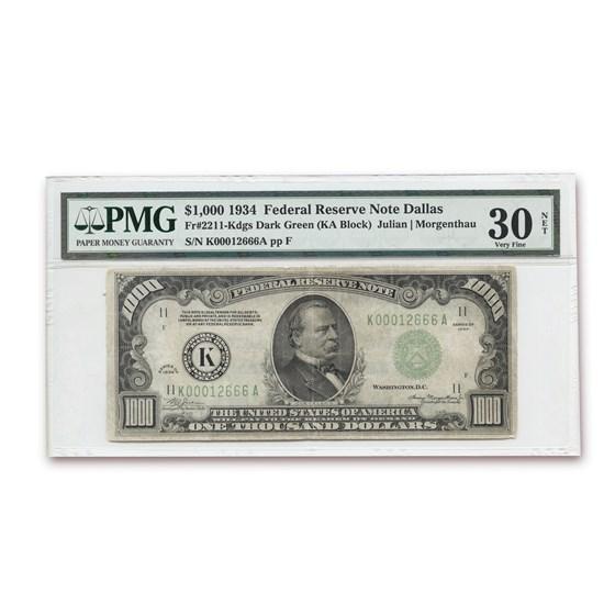 1934 (K-Dallas) $1,000 FRN VF-30 NET PMG