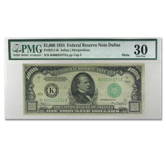 1934 (K-Dallas) $1,000 FRN VF-30 PMG
