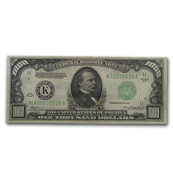 1934 (K-Dallas) $1,000 FRN VF