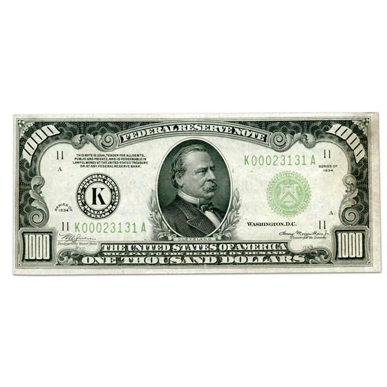 1934 (K-Dallas) $1,000 FRN XF+