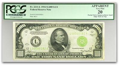 1934 (L-San Francisco) $1,000 FRN Apparent VF-20 PCGS