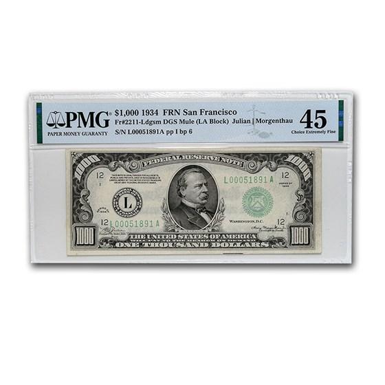 1934 (L-San Francisco) $1,000 FRN Ch XF-45 PMG (Mule)