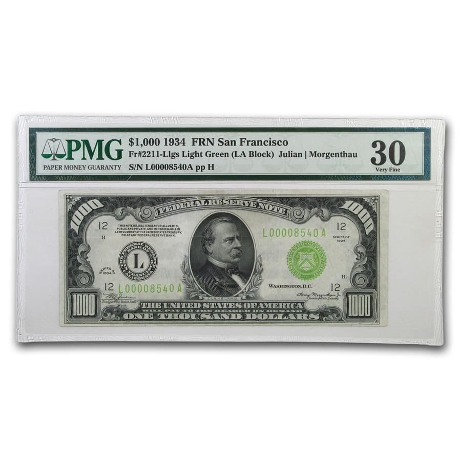 1934 (L-San Francisco) $1,000 FRN VF-30 PMG (LGS)