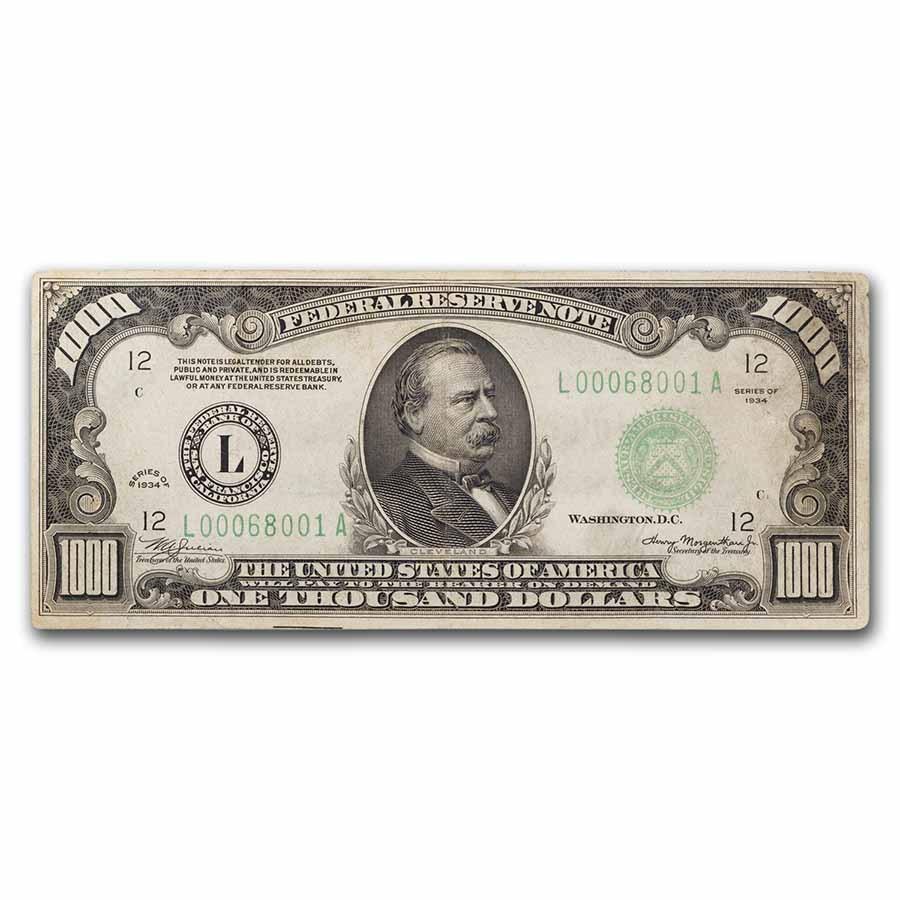 1934 (L-San Francisco) $1,000 FRN VF