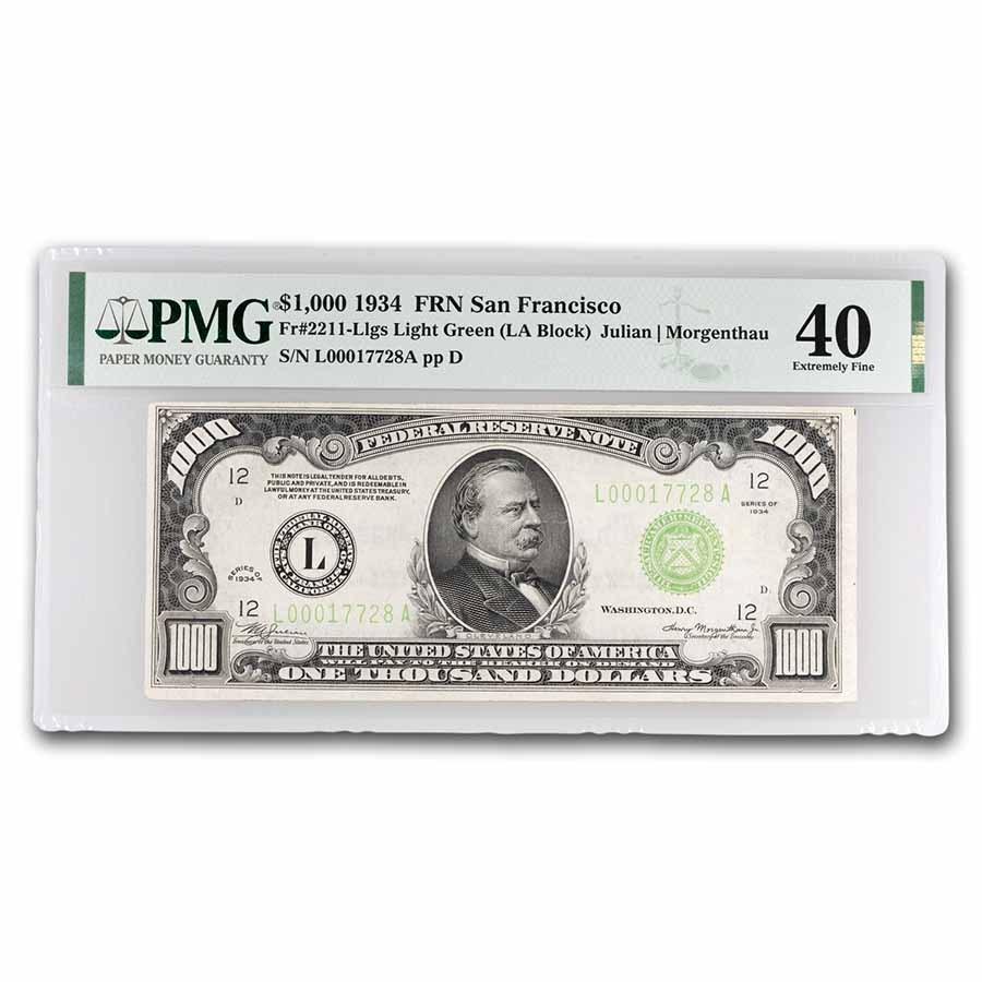 1934 (L-San Francisco) $1,000 FRN XF-40 PMG (Fr#2211-L) LGS