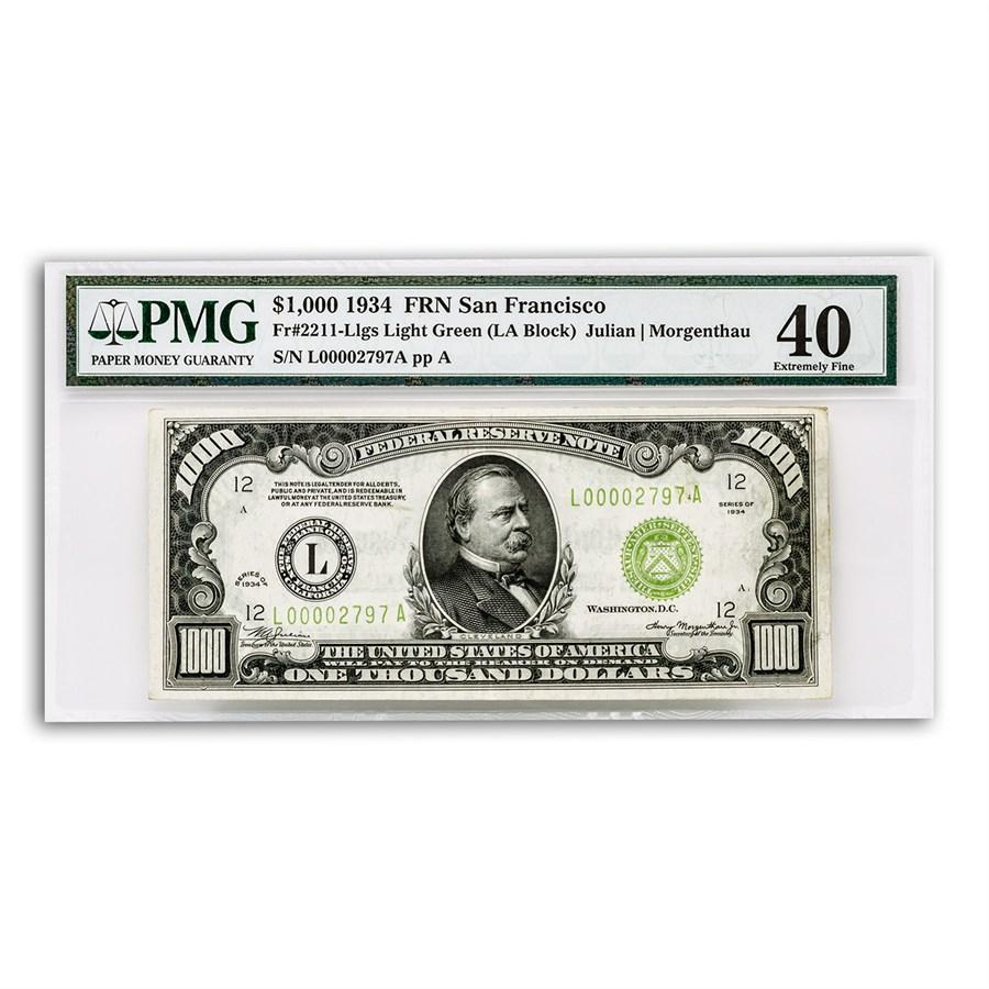 1934 (L-San Francisco) $1,000 FRN XF-40 PMG (Fr#2211-L)