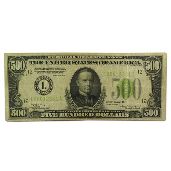 1934 (L-San Francisco) $500 FRN Fine/VF