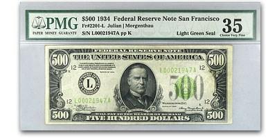 1934 (L-San Francisco) $500 FRN VF-35 PMG