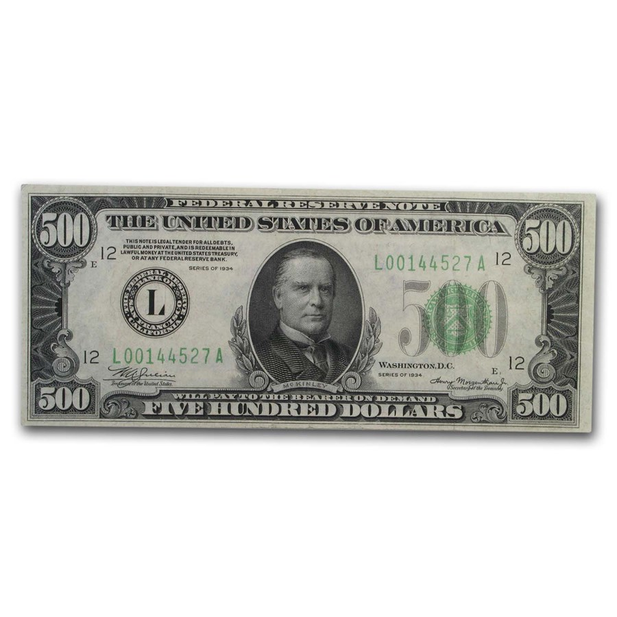 1934 (L-San Francisco) $500 FRN XF