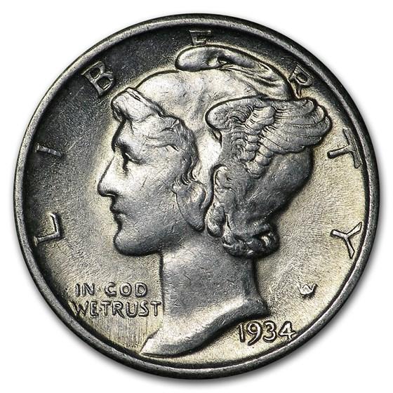 1934 Mercury Dime AU