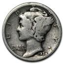 1934 Mercury Dime Good/VF