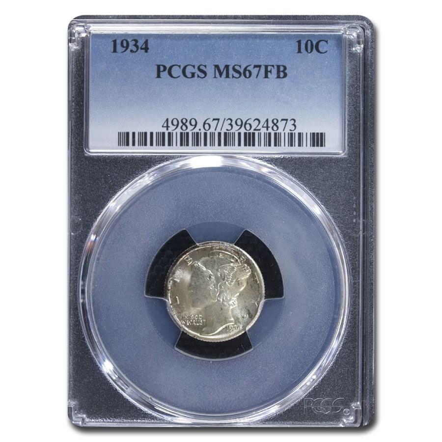 1934 Mercury Dime MS-67 PCGS (FB)