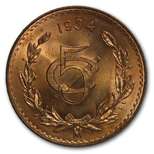 1934 Mexico 5 Centavos Bronze BU Red KM#422