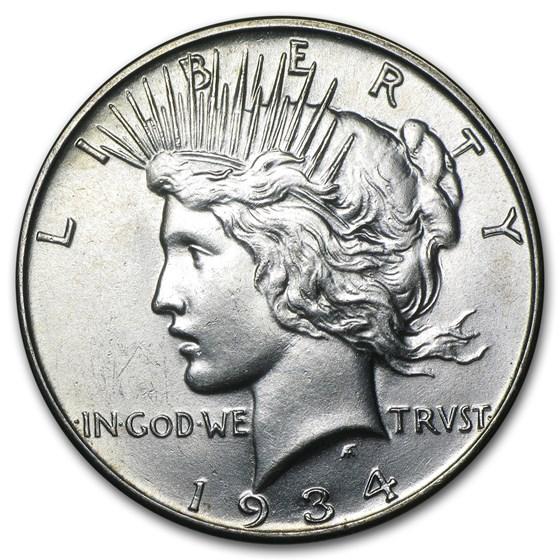 1934 Peace Dollar AU-58